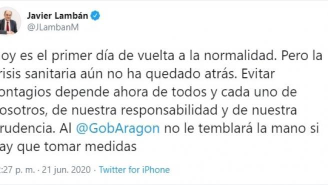 Tuit publicado por Javier Lambán