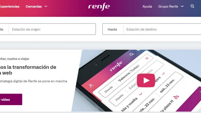 Captura de la nueva web de Renfe.
