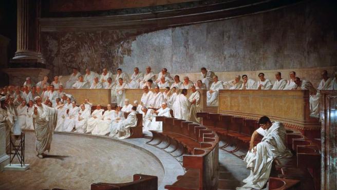 Intervención de Cicerón en el Senado de Roma.