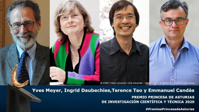 Yves Meyer, Ingrid Daubechies, Terence Tao y Emmanuel Candès, líderes mundiales en el campo de las matemáticas, han sido galardonados con el Premio Princesa de Asturias de Investigación Científica y Técnica 2020.