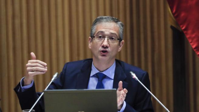 El gobernador del Banco de España, Pablo Hernández de Cos, este martes en el Congreso.
