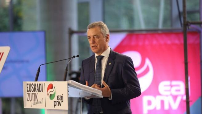 El Lehendakari y candidato a la reelección, Iñigo Urkullu, durante la presentación del programa electoral del PNV