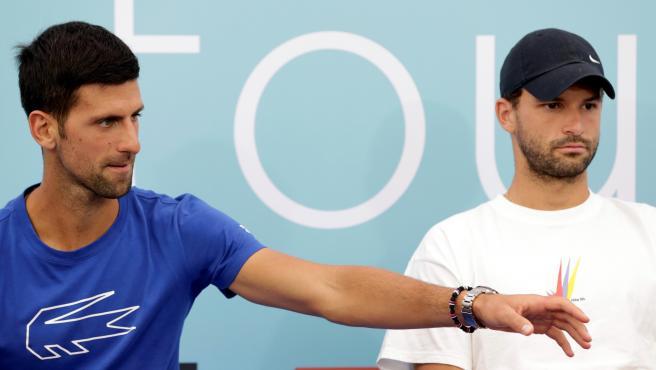 Novak Djokovic y Grigor Dimitrov, durante el Adria Tour