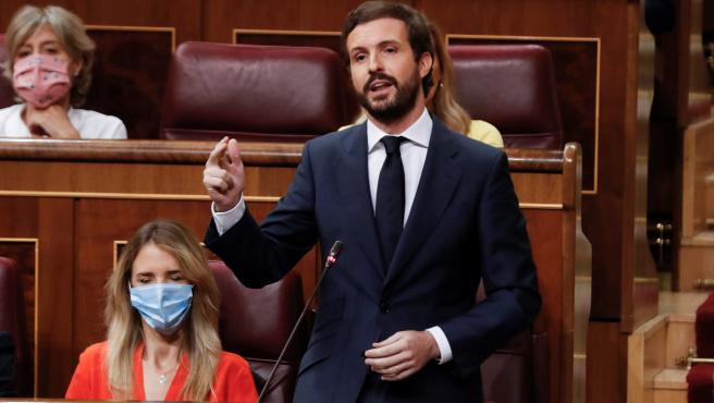 El líder del PP, Pablo Casado, durante su intervención en la sesión de control en el Congreso.