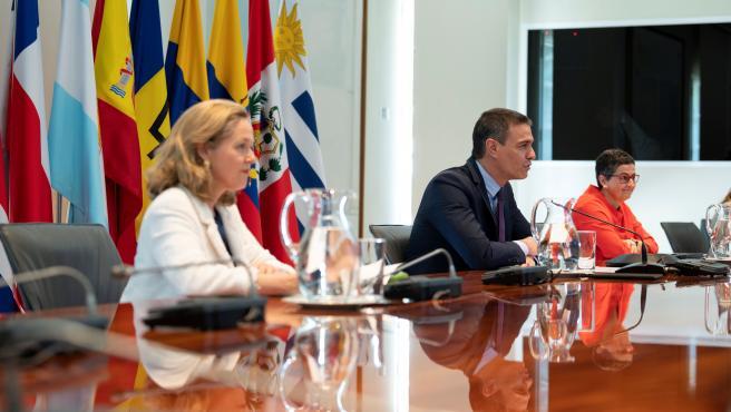 Sánchez, Calviño y González Laya.