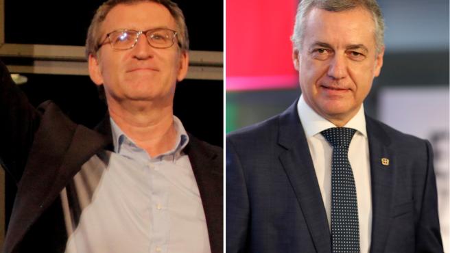 El presidente de la Xunta, Alberto Núñez Feijóo (PP), y el lehendakari vasco, Iñigo Urkullu (PNV), en el arranque de la campaña electoral de las elecciones en Galicia y Euskadi.