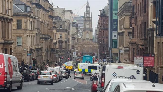 Imagen de la zona donde ha sucedido el ataque, en el centro de Glasgow (Escocia).