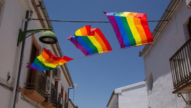Algunas de las 400 banderas arcoíris colgadas en Villanueva de Algaidas (Málaga).