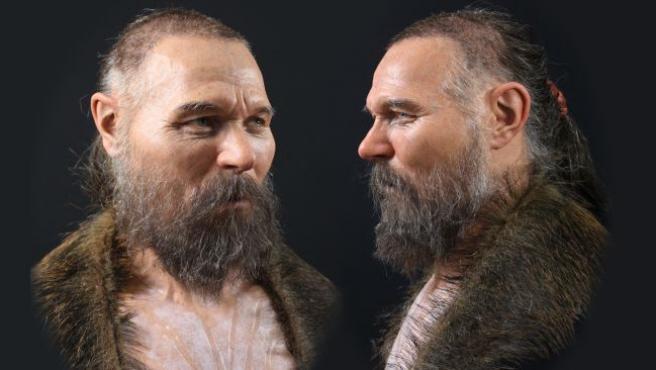 Reconstrucción del rostro de un hombre de la Edad de Piedra.