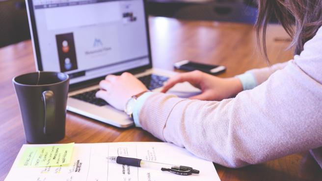 Un estudiante se prepara estudiando online desde casa.