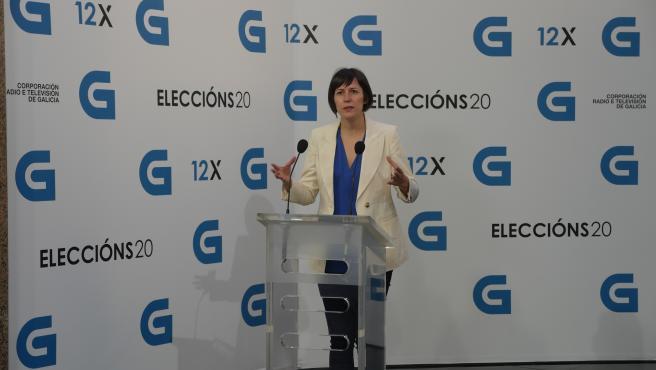 La candidata a la Presidencia de la Xunta deL BNG, Ana Pontón, llega al debate televisivo a siete organizado por la radiotelevisión gallega (CRTVG), el único debate electoral programado en la campaña, en Santiago de Compostela