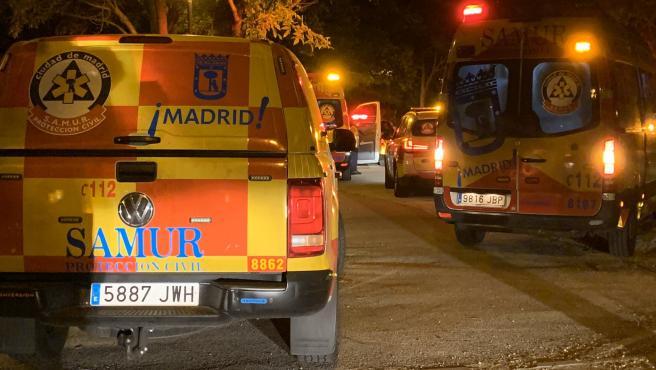 Vehículos de emergencias del SAMUR - Protección Civil, en el parque Emperatriz María de Austria de Madrid, donde una reyerta dejó tres heridos graves.
