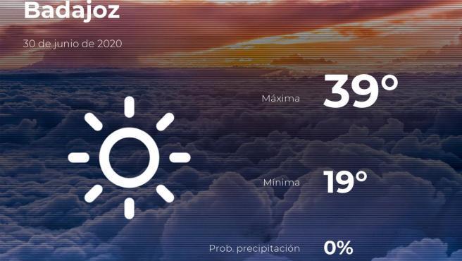 El tiempo en Badajoz: previsión para hoy martes 30 de junio de 2020