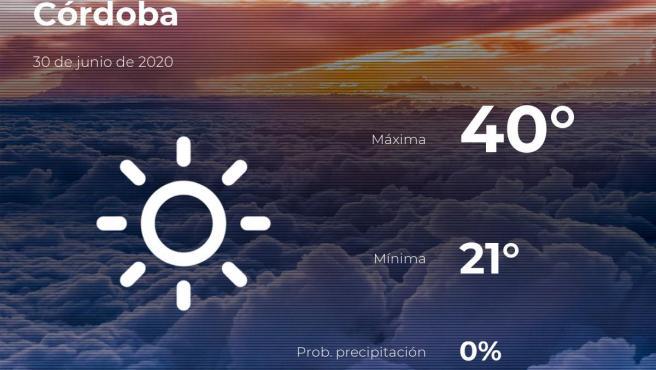 El tiempo en Córdoba: previsión para hoy martes 30 de junio de 2020