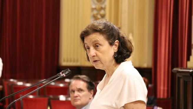 La consellera de Servicios Sociales y Deportes, Fina Santiago, defiende el decreto sobre prestaciones sociales en el Parlament.