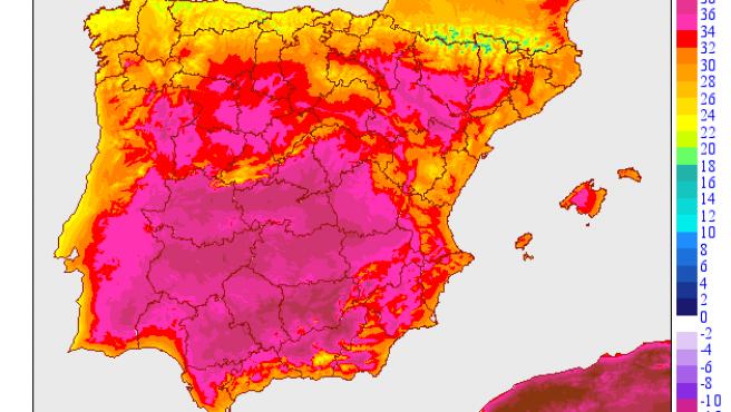 Mapa de temperaturas máximas de la AEMET para el 30 de junio de 2020.