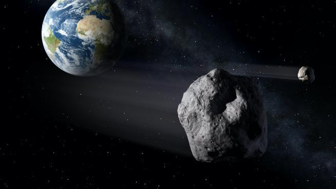 Un asteroide aproximándose a la Tierra.