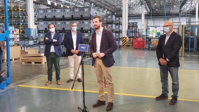 El presidente nacional del PP, Pablo Casado, en Ourense