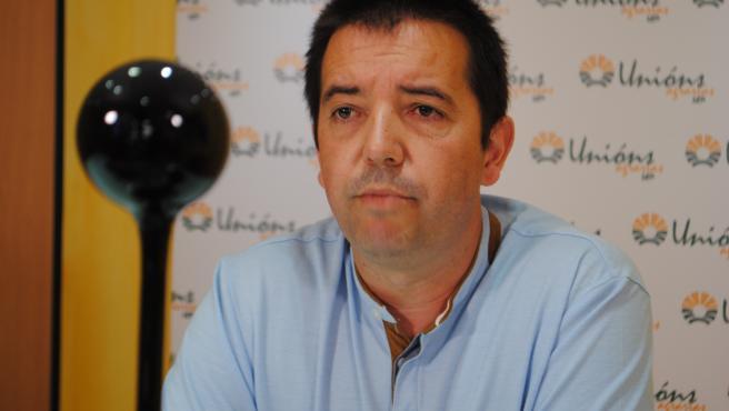 El responsable de Servicios de Unións Agrarias (UUAA), Óscar Pose, durante la rueda de prensa