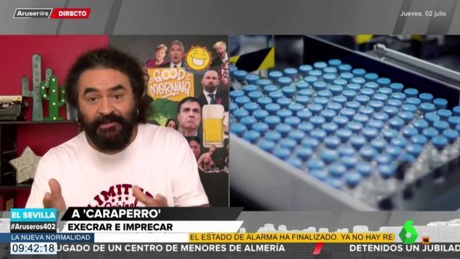 El Sevilla hace un monólogo contra Donald Trump en el programa de 'Aruser@s'.
