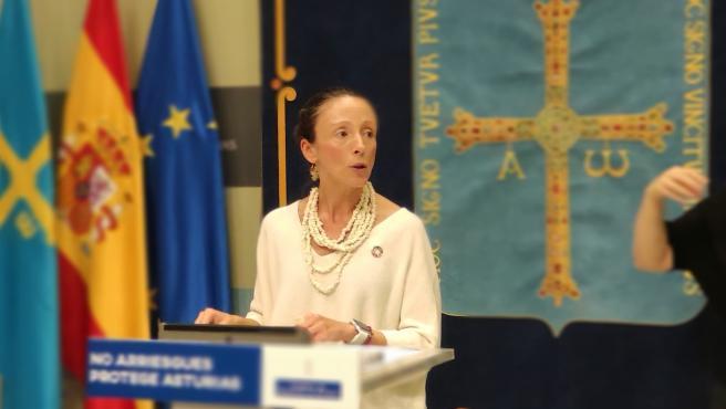 La portavoz del Gobierno asturiano y consejera de Derechos Sociales, Melania Álvarez, en rueda de prensa tras el Consejo de Gobierno.
