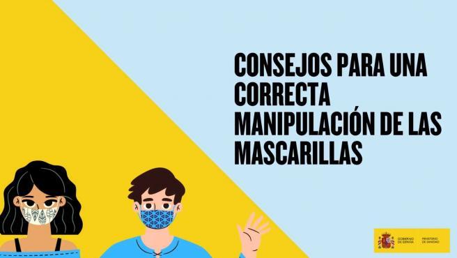 """El Ministerio de Sanidad ha publicado un vídeo con algunas indicaciones para conocer de qué forma se deben usar las mascarillas. Con el título """"Consejos para una correcta manipulación de las mascarillas"""", en apenas un minutos se dan varias sencillas directrices."""
