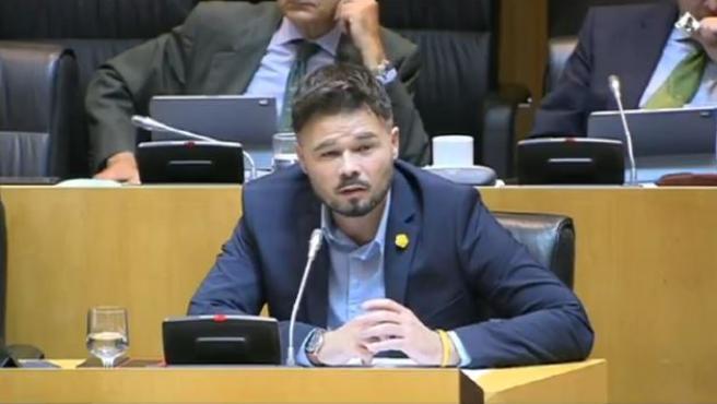 El portavoz de ERC, Gabriel Rufián, en la Comisión para la Reconstrucción Social y Económica.