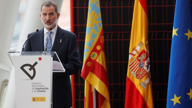 El rey Felipe VI asiste a la entrega de los Premios Nacionales de Innovación y Diseño. EFE/Ballesteros