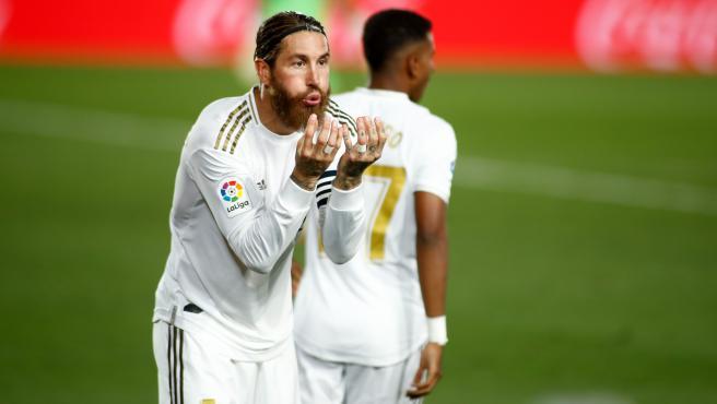 Sergio Ramos celebra su gol ante el Getafe.