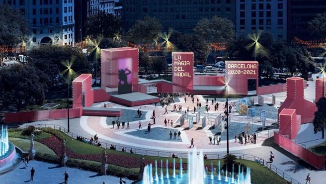 Primera simulación de la decoración navideña de la plaza Cataluña este 2020.