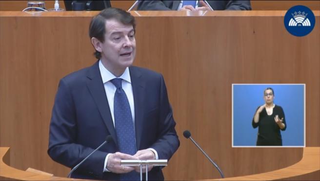 Captura de la intervención de Mañueco en el Pleno de Política General de Cyl.