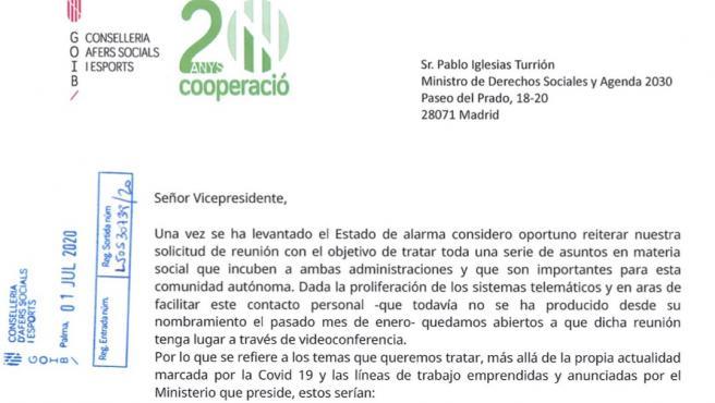 Carta enviada por la consellera de Asuntos Sociales y Deportes, Fina Santiago, al vicepresidente de Derechos Sociales, Pablo Iglesias.