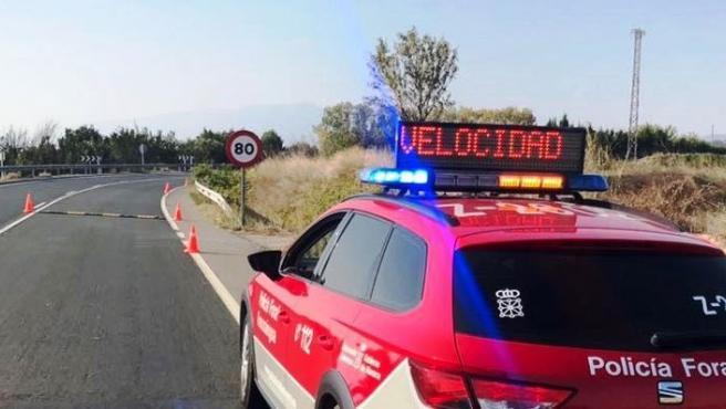 Control de velocidad de la Policía Foral
