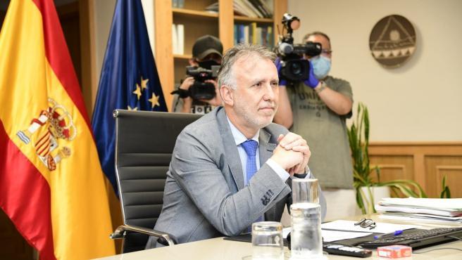 El presidente del Gobierno de Canarias, Ángel Víctor Torres, este jueves durante una videoconferencia