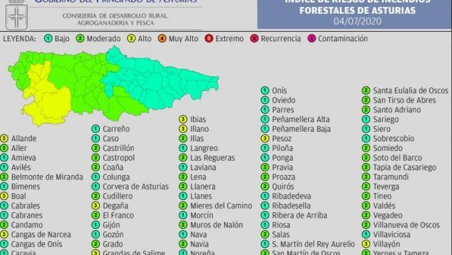 Mapa riesgo de incendio forestal.