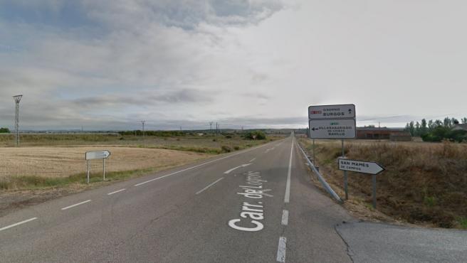 Carretera N-120 en Palencia a la altura de San Mamés de Campos.