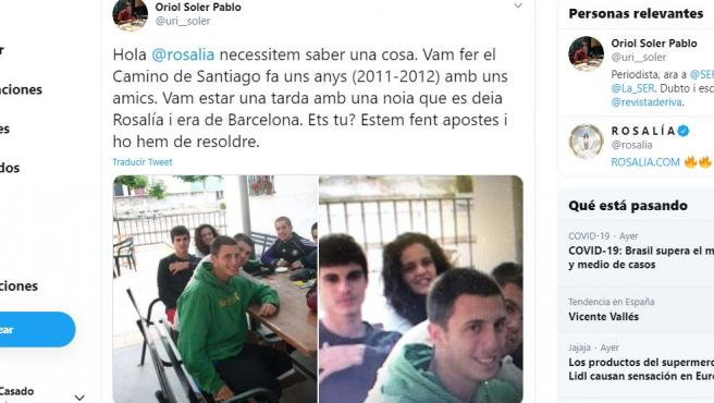 Tuit del joven que cree que coincidió en el Camino de Santiago con Rosalía.