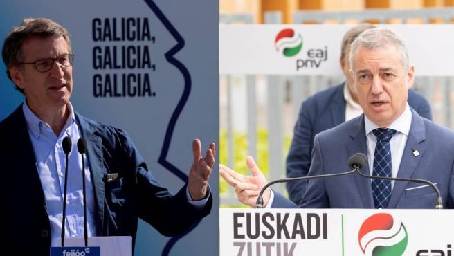 El presidente de la Xunta de Galicia, Alberto Núñez Feijóo, y el lehendakari, Iñigo Urkullo, durante la campaña electoral de este 12-J.