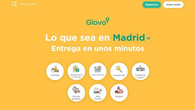 Página principal de la aplicación de Glovo.