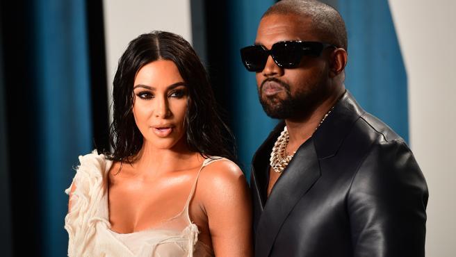 Kanye West y Kim Kardashian, en la fiesta de los Oscar 2020.