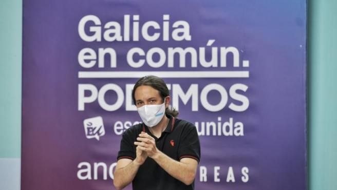 Pablo Iglesias, en un mitin de Podemos en Vigo.