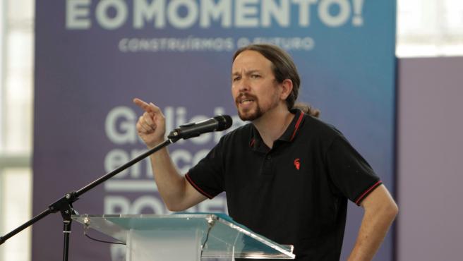 El vicepresidente del Gobierno, Pablo Iglesias, en un mitin en Vigo.