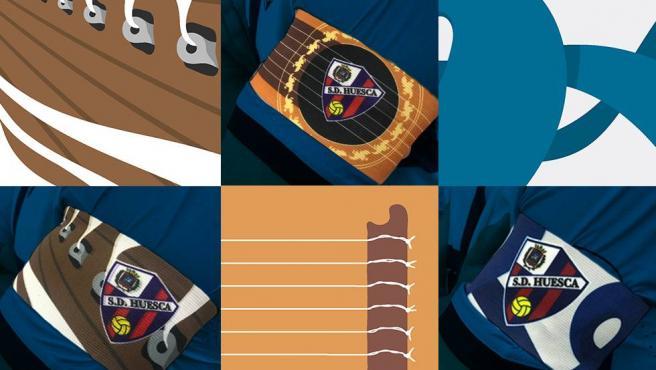 Tres diseños de brazalete que ha lucido el capitán del Huesca.