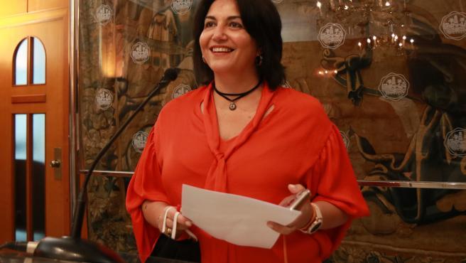 Eva Timoteo en rueda de prensa en el Ayuntamiento de Córdoba.