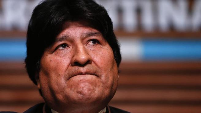 El expresidente de Bolivia Evo Morales, durante una rueda de prensa en Buenos Aires (Argentina).