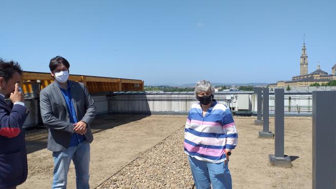 La alcaldesa de Gijón, Ana González, y el consejero de Ciencia, Borja Sánchez, visitan el edificio 'Greenspace', en el Parque Científico y Tecnológico de Gijón