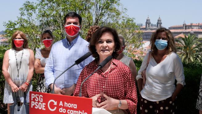 la Vicepresidenta del Gobierno de España, Carmen Calvo, realiza una visita Santiago de Compostela, acompañada del candidato a la presidencia de la Xunta de Galicia por el PSOE, Gonzalo Caballero .