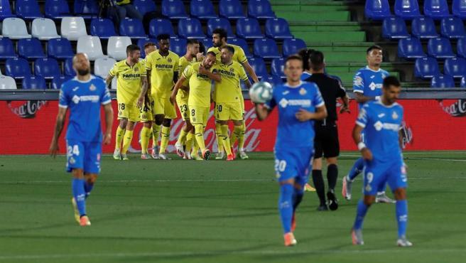 El Villarreal celebra un gol ante el Getafe.