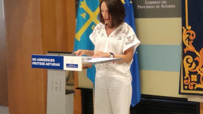 La consejera de Derechos Sociales y Bienestar, Melania Álvarez, en rueda de prensa tras el Consejo de Gobierno.