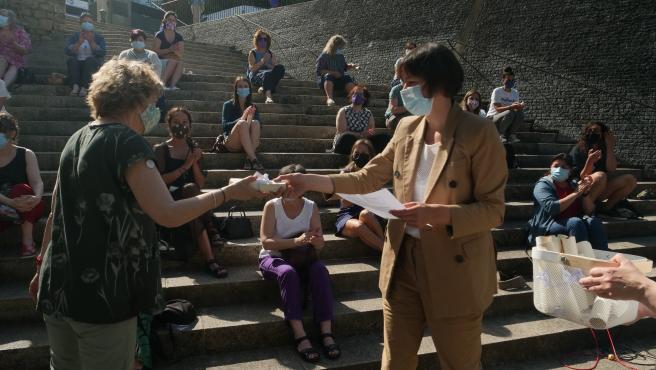 La líder del BNG, Ana Pontón, en un acto de campaña en el que el Bloque homenajeó a mujeres por su labor durante la pandemia